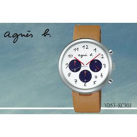 ~時間道~むagnes b~錶め法式簡約 風情三眼腕錶 白面駝色皮^(VD53~KC30J