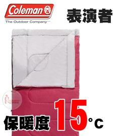 探險家戶外用品㊣CM-18461 美國Coleman 15度表演者睡袋 酒紅灰 可機洗可雙拼 化纖睡袋 信封型露營寢袋 中空纖維棉