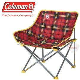 探險家戶外用品㊣CM-24761 美國Coleman 輕鬆椅/紅格子花 盤腿椅月亮椅休閒椅露營椅折疊椅
