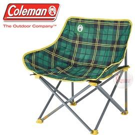 探險家戶外用品㊣CM-24762 美國Coleman 輕鬆椅/綠格子花 盤腿椅月亮椅休閒椅露營椅折疊椅