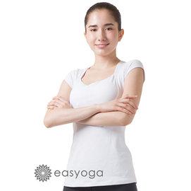 easyoga 瑜珈服 深U美胸短袖上衣 ^(胸前格紋緹花^)~雪白