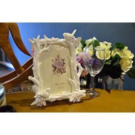 歐洲藝術~ 小鳥樹枝白色相框 5x7 餐廳民宿咖啡店品味優雅~Chic Casa 奇可家居