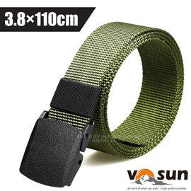 【VOSUN】無段式調整高強度輕量彈道尼龍腰帶(塑鋼頭).無金屬防過敏安檢皮帶.休閒塑膠扣.褲帶/快速通關.調整迅速/VO-034 橄綠