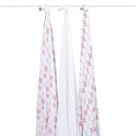 【紫貝殼】『PAA08』美國 Aden + Anais 竹纖維雙層細紗布輕柔新生兒包巾(3入裝/公司貨) (繽紛花園R900)★英國喬治小王子御用包巾品牌