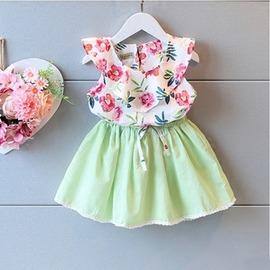 I BABY  女童 兒童 洋氣 碎花娃娃衫 上衣吊帶 短裙 兩件套 套裝~QA0520~