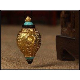 海螺嘎烏 由當世大成就者夏紮法王的大藏醫制作的咕嚕咕咧佛母的懷愛甘露丸7顆
