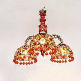 5Cgo~ 七天交貨~42937328377 歐式地中海風格吊燈復古臥室餐廳木紋水晶五彩燈