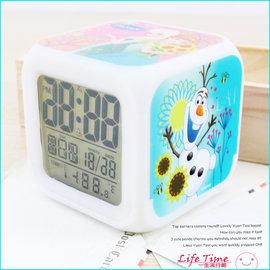 冰雪奇緣 迪士尼立體方型電子萬年曆 時鐘 日期時間溫度計 B03628