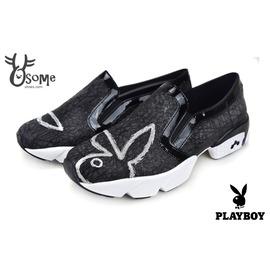 PLAYBOY 不規則圖騰 厚底休閒鞋 娃娃鞋 樂福鞋 懶人鞋 記憶鞋墊 ^#黑 H914