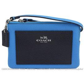 【  中】COACH 65758 馬車LOGO撞色防刮皮革扣環手拿包.藍 深藍 價 1 8