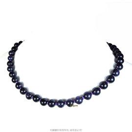 珍珠林^~ 發行^~天然8MM南美藍砂石項鏈^~^#652