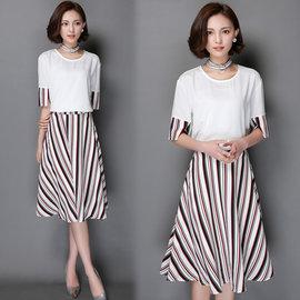 ~韓國KW~名媛系~ KQ362~8 名媛顯瘦條紋二件式洋裝~白