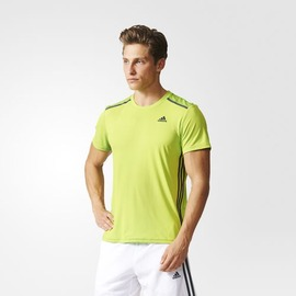 ADIDAS  climacool系列 男款圓領排汗衫-螢光綠 AJ5509