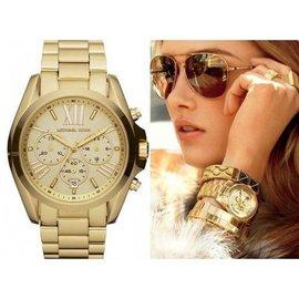 米雪兒 Michael Kors MK 奢華  男女錶 金色三眼計時手錶腕錶 MK5605