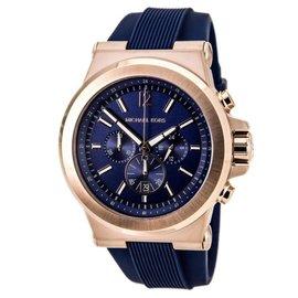 米雪兒 Michael Kors MK 中性 藍錶面 男女款 橡膠錶帶 三眼計時手錶腕錶