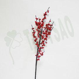 ~ 造花~ ~人造花~^~冬青果^~~紅色果實樹枝 插花盆花  居家簡易佈置 場景空間 材