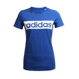 adidas ESS LINEAR TEE 女子藍色休閒 短袖棉T恤~AJ4571