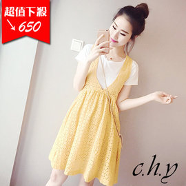 甜心 簡約T恤 甜美大V領鏤空背心裙2件式洋裝套裝~黃色~M L XL ~1485998