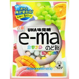 【吉嘉食品】UHA 味覺糖 e-ma七彩水果喉糖(袋裝) 1包50公克75元,日本進口,另售青葡萄水果喉糖{4514062257846:1}