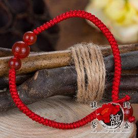~微笑瑪瑙編織手鍊~桃花 水晶 五行 紅線 手環 開運 含開光 馥瑰馨盛NS0271
