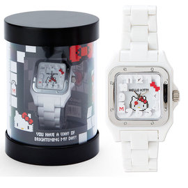 KITTY女用手錶像素遊戲風系列方形錶面寬錶帶附圓筒盒大臉516898通販部