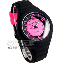 Lotus 錶 立體錶盤指針腕錶 女錶 矽膠錶帶 黑x桃紅 TP2132L~02黑桃