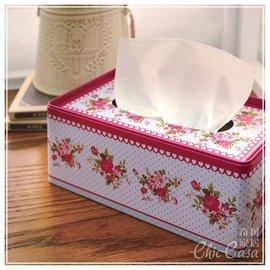 宮廷華麗~春光鐵皮面紙盒 桃心水玉玫瑰 粉嫩鄉村風紙巾盒~Chic Casa 奇可家居~