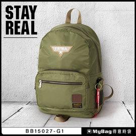 STAYREAL 後背包 捍衛戰士後背包 BB15027 綠色 13吋筆電後背包  MyB