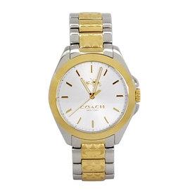 COACH TRISTEN金銀雙色C Logo鍊帶不鏽鋼按壓扣式腕錶 28mm