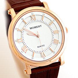 FW~8064G MOMENT 羅馬 風格皮革石英錶 ~ 白面玫字