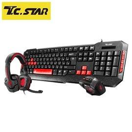 T.C.STAR 電競耳機鍵盤滑鼠組 KIT9907RD 紅色