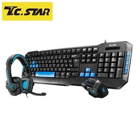 T.C.STAR 電競耳機鍵盤滑鼠組 KIT9907BU 藍色