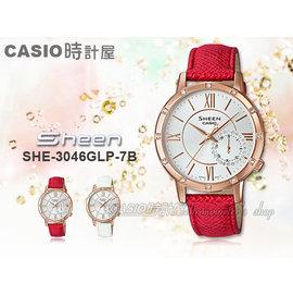 CASIO 卡西歐 SHEEN系列 SHE~3046GLP~7B 女錶 真皮錶帶 三眼 防