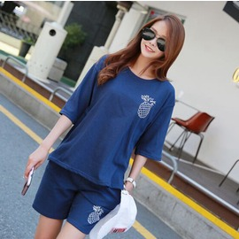 菠蘿印刷T恤 短褲套裝 k0617 pss4609246289 韓國連線 P醬shop