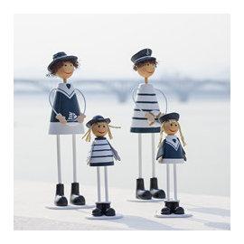~微加幸福雜貨小築~海洋風 水手海軍風 地中海 木質 吊腳 娃娃 一家四口  ^(坐款 站