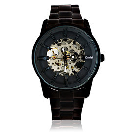 Daniel Wang DW~3142~IP 絢麗閃電雙面鏤空指針式全自動機械錶 ~ 黑浮