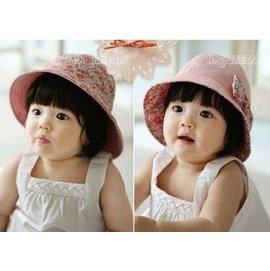 兒童雙面小碎花蝴蝶結漁夫帽 女寶寶遮陽帽2~7y