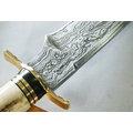 郭常喜的興達刀鋪~鹿角藝術獵刀^(A0291^) 銅護手、黑檀木 鹿角刀柄