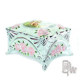 ~Barocco Nuts~^~珠寶盒^~首飾盒:珠光瑩白 粉紅玫瑰 精雕 華麗城堡 收納