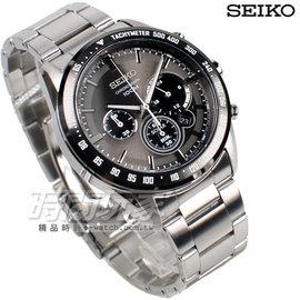 SEIKO 精工錶 Criteria光動能 三眼多 計時碼錶 不�袗�帶 灰色 男錶 SS