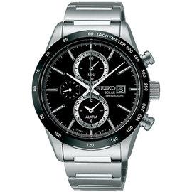 新品搶鮮賣 7.2折 SEIKO Spirit 精工太陽能兩地時間三眼計時腕錶^(黑~40