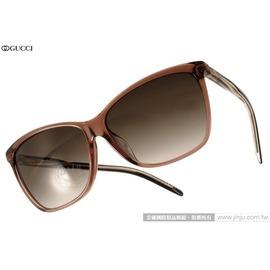 GUCCI 太陽眼鏡 GG3663FS 0WOHA (透棕) 簡約時尚立體轉節鏡腳系列貓眼款 墨鏡 # 金橘眼鏡