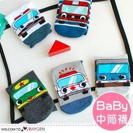男童卡通汽車直板棉襪 中筒襪【HH婦幼館】