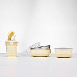 【紫貝殼】『MOEK02+MOEK03+MOEK06』美國 Kangovou 小袋鼠不鏽鋼安全小粥碗+點心碗+兩用杯-檸檬黃 3件組