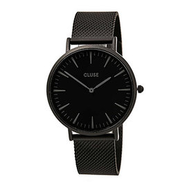 CLUSE荷蘭 手錶 波西米亞金屬系列 黑錶盤 黑色金屬錶帶38mm