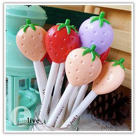 【Q禮品】A2999 草莓中性筆/草莓筆/水果 造型原子筆/創意文具/廣告筆/簽名筆/婚禮小物/贈品禮品