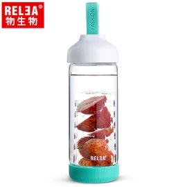 ~香港RELEA物生物~水果鮮飲玻璃杯500ml^(薄荷藍^)