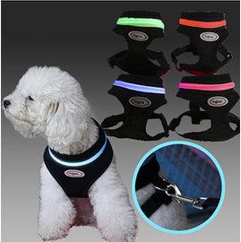 Pets寵物透氣棉網LED胸背帶^~