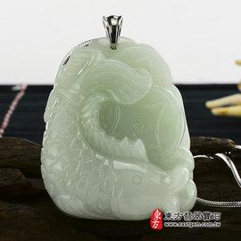 富貴有魚A貨天然翡翠花件吊墜^(豆種^) FI026~產地 緬甸玉石,訂做 吊墜, 玉雕和