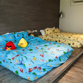 床包  雙人~憤怒鳥~藍~含兩件枕套,可愛卡通Angry Birds